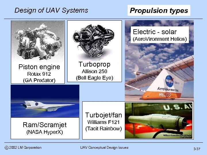 Design of UAV Systems Propulsion types Electric - solar (Aero. Vironment Helios) Piston engine