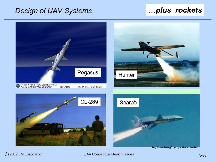 …plus rockets Design of UAV Systems Pegasus CL-289 Hunter Scarab http: //www. fas. org/irp/program/collect/uav.