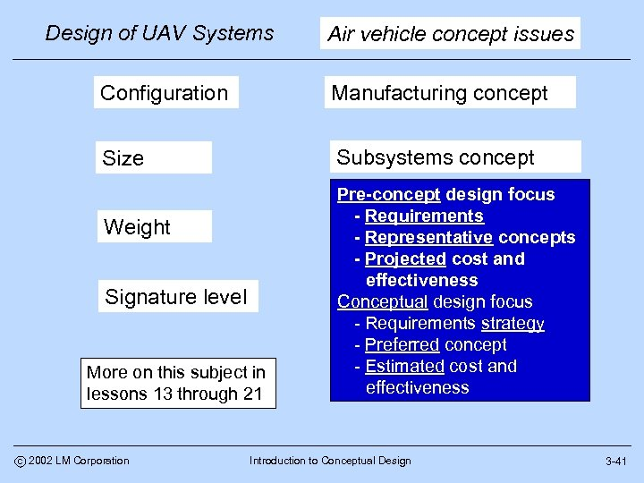 Design of UAV Systems Air vehicle concept issues Configuration Manufacturing concept Size Subsystems concept