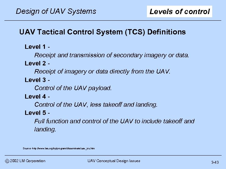 Design of UAV Systems Levels of control UAV Tactical Control System (TCS) Definitions Level