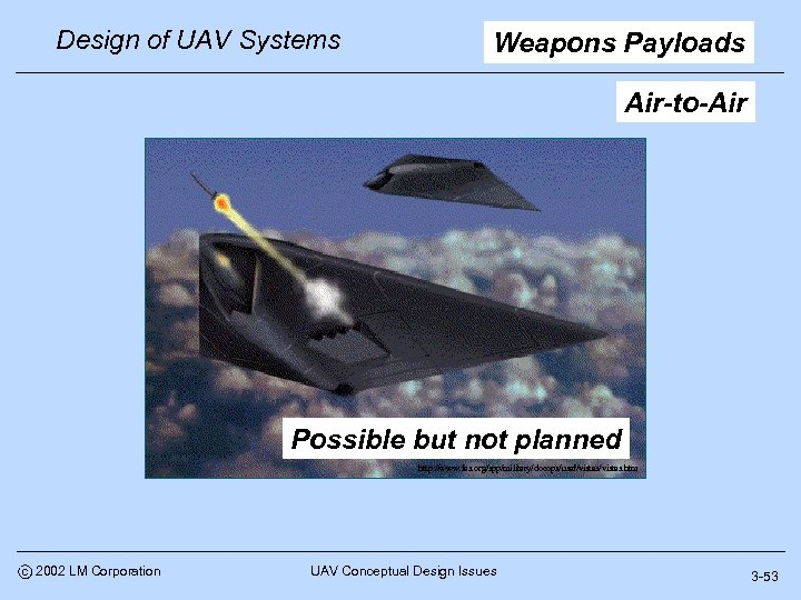 Design of UAV Systems Weapons Payloads Air-to-Air Possible but not planned http: //www. fas.