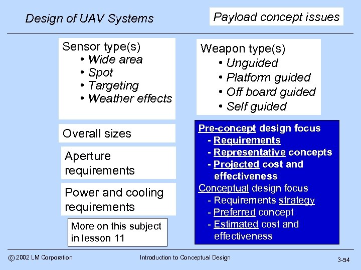 Design of UAV Systems Payload concept issues Sensor type(s) • Wide area • Spot