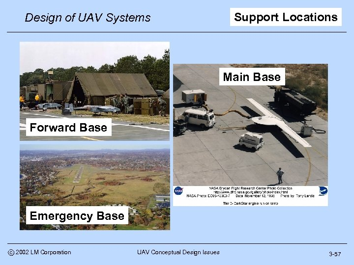 Design of UAV Systems Support Locations Main Base Forward Base Emergency Base c 2002