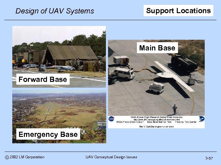 Design of UAV Systems Support Locations Main Base Forward Base Emergency Base c 2002