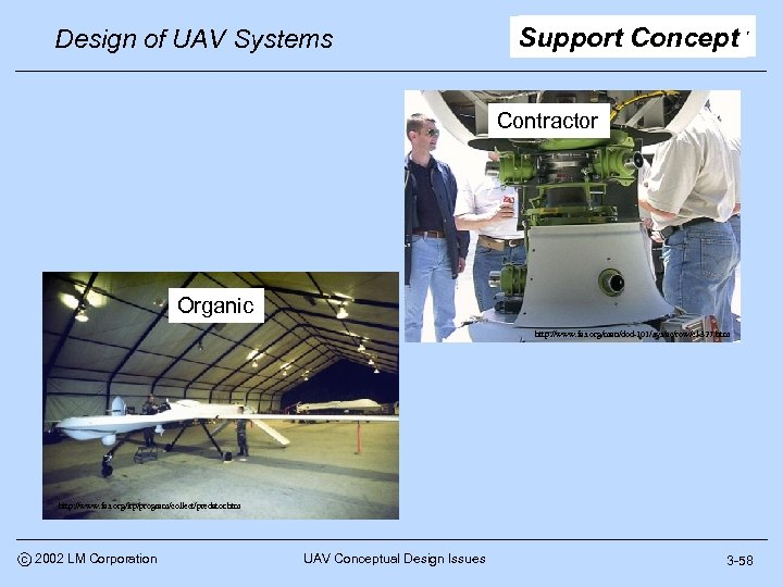Design of UAV Systems Support Concept Contractor Organic http: //www. fas. org/man/dod-101/sys/ac/row/cl-327. htm http: