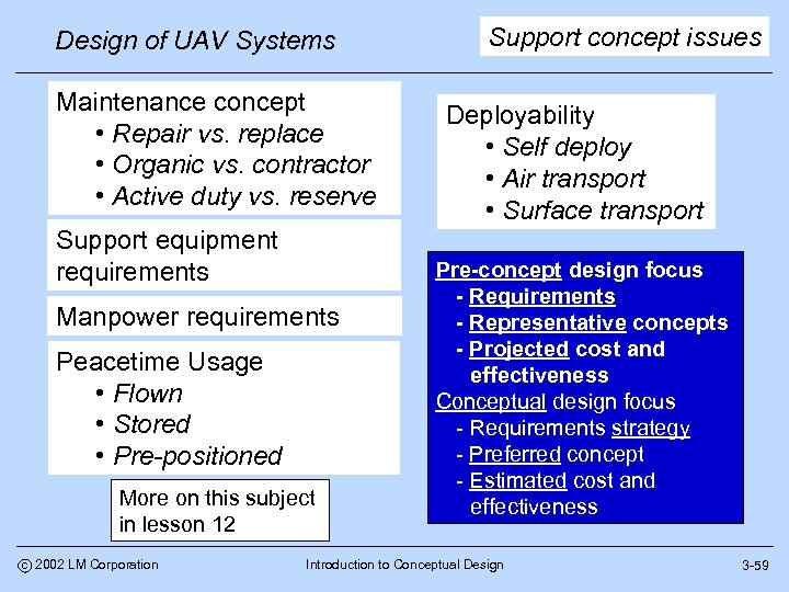Design of UAV Systems Maintenance concept • Repair vs. replace • Organic vs. contractor