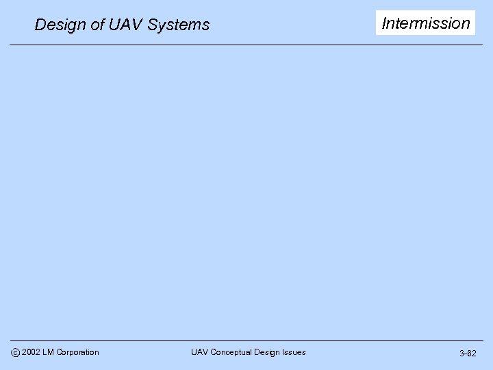 Design of UAV Systems c 2002 LM Corporation UAV Conceptual Design Issues Intermission 3