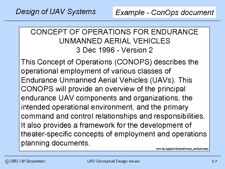 Design of UAV Systems Example - Con. Ops document CONCEPT OF OPERATIONS FOR ENDURANCE