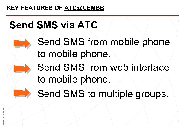 KEY FEATURES OF ATC@UEMBB Send SMS via ATC UEM BUILDERS BHD Send SMS from