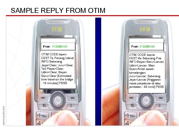 SAMPLE REPLY FROM OTIM UEM BUILDERS BHD OTIM CODE: topen DEST: To Penang Island