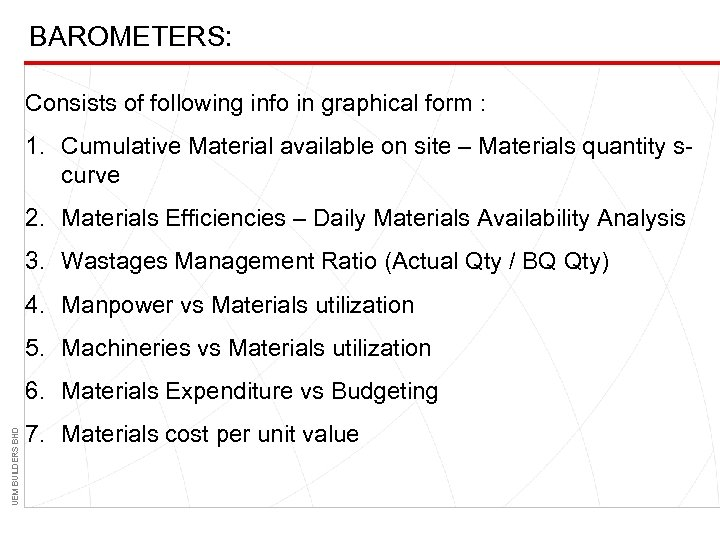 BAROMETERS: Consists of following info in graphical form : 1. Cumulative Material available on