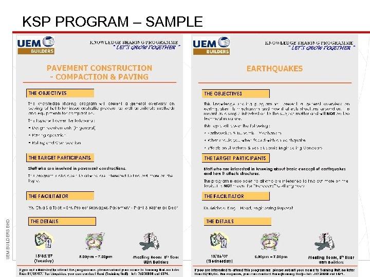 UEM BUILDERS BHD KSP PROGRAM – SAMPLE