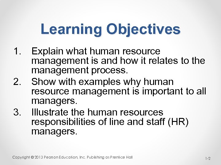 Learning Objectives 1. Explain what human resource management is and how it relates to