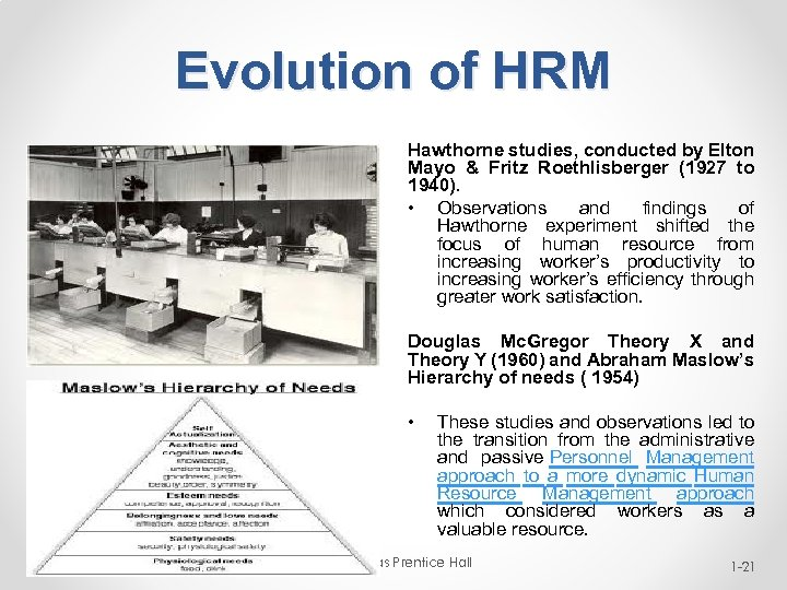 Evolution of HRM Hawthorne studies, conducted by Elton Mayo & Fritz Roethlisberger (1927 to