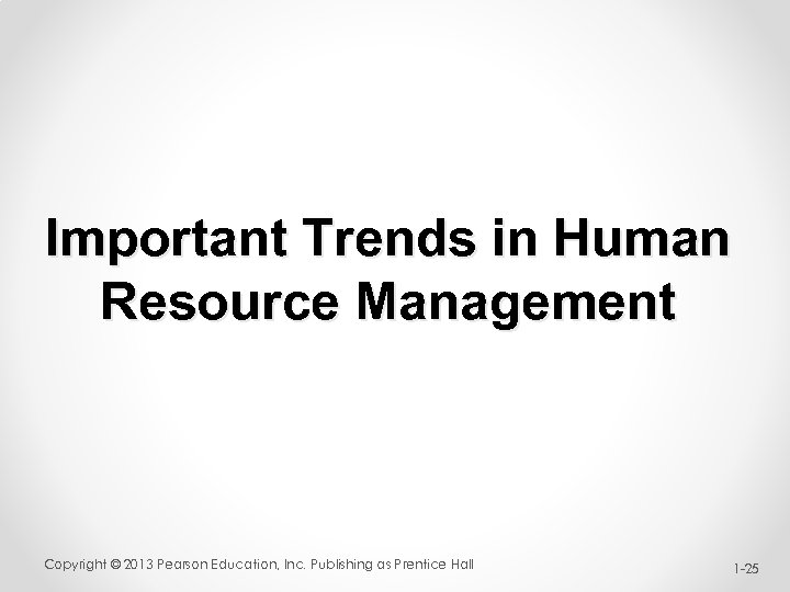 Important Trends in Human Resource Management Copyright © 2013 Pearson Education, Inc. Publishing as