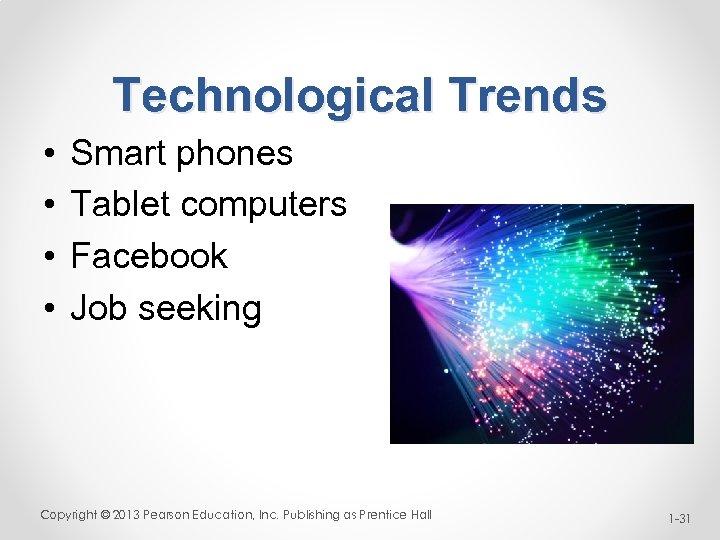 Technological Trends • • Smart phones Tablet computers Facebook Job seeking Copyright © 2013