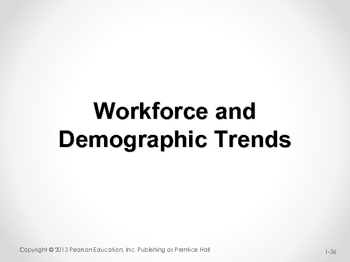 Workforce and Demographic Trends Copyright © 2013 Pearson Education, Inc. Publishing as Prentice Hall