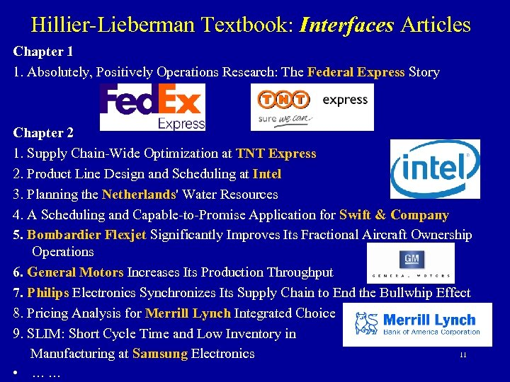 Hillier-Lieberman Textbook: Interfaces Articles Chapter 1 1. Absolutely, Positively Operations Research: The Federal Express