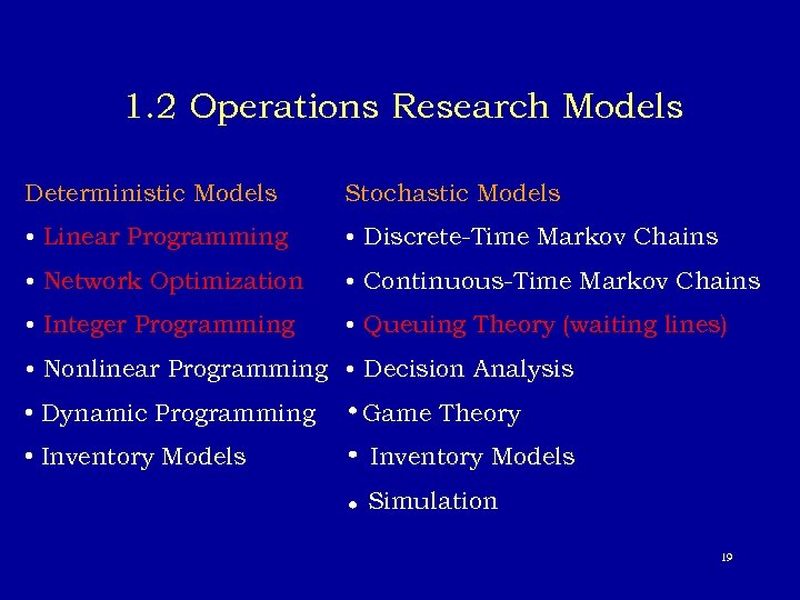 1. 2 Operations Research Models Deterministic Models Stochastic Models • Linear Programming • Discrete-Time