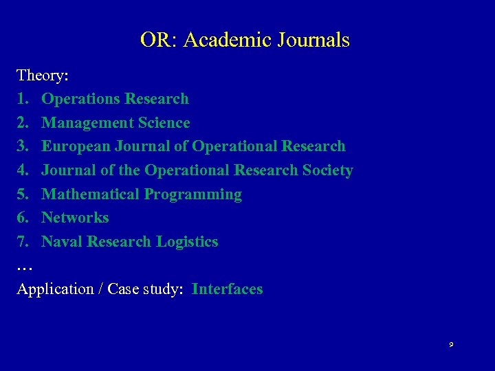 OR: Academic Journals Theory: 1. Operations Research 2. Management Science 3. European Journal of