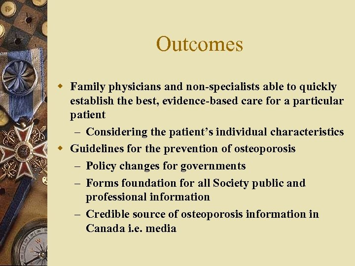 Outcomes w Family physicians and non-specialists able to quickly establish the best, evidence-based care