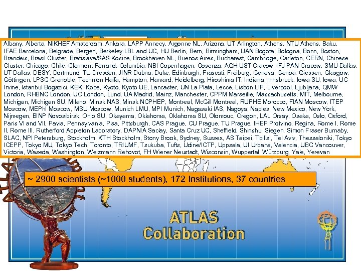 Albany, Alberta, NIKHEF Amsterdam, Ankara, LAPP Annecy, Argonne NL, Arizona, UT Arlington, Athens, NTU