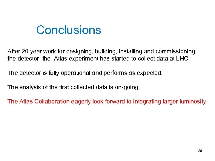 Conclusions After 20 year work for designing, building, installing and commissioning the detector the