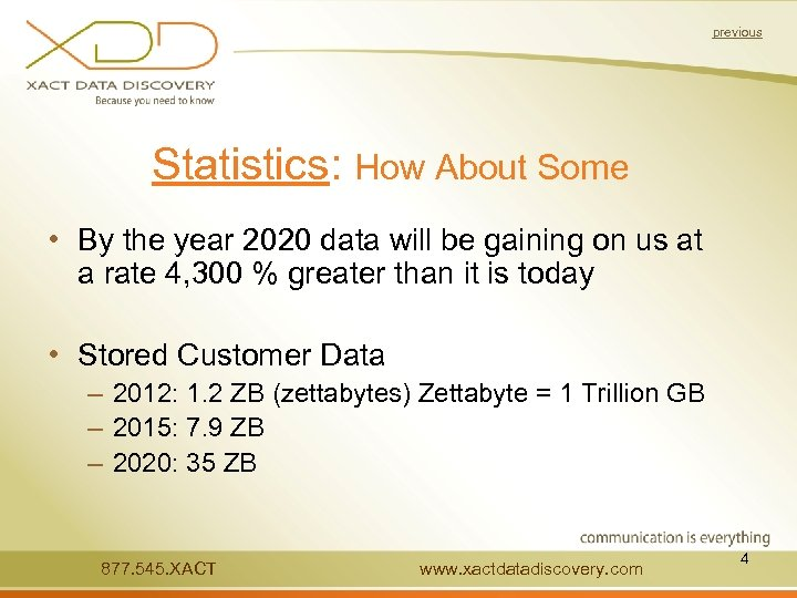 previous Statistics: How About Some • By the year 2020 data will be gaining