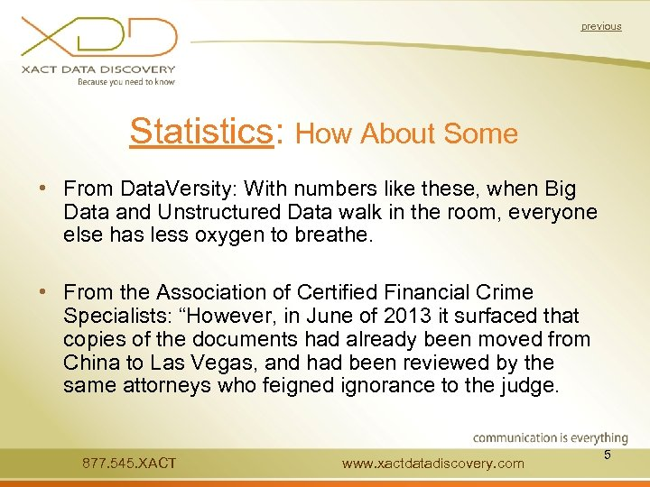 previous Statistics: How About Some • From Data. Versity: With numbers like these, when