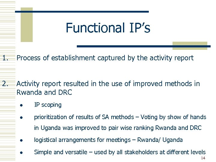 Functional IP's 1. Process of establishment captured by the activity report 2. Activity report