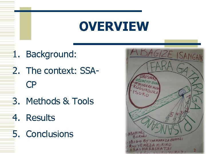 OVERVIEW 1. Background: 2. The context: SSACP 3. Methods & Tools 4. Results 5.