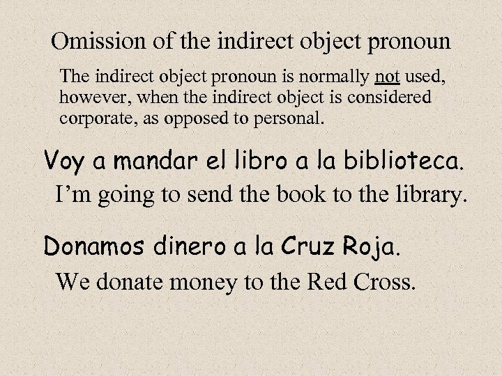 Omission of the indirect object pronoun The indirect object pronoun is normally not used,
