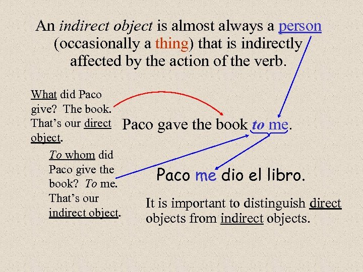 An indirect object is almost always a person (occasionally a thing) that is indirectly