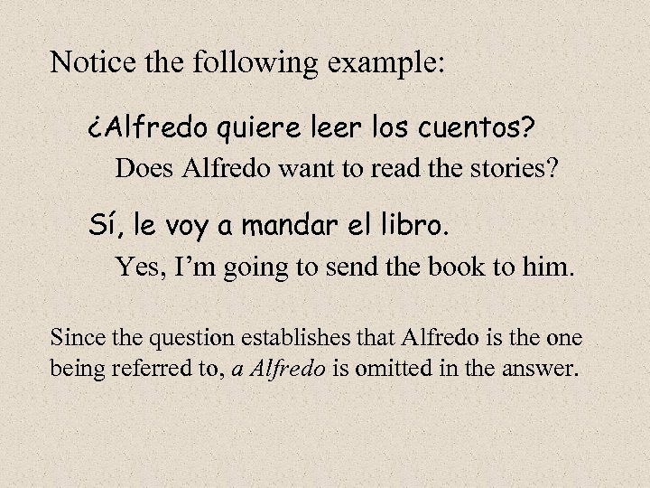 Notice the following example: ¿Alfredo quiere leer los cuentos? Does Alfredo want to read