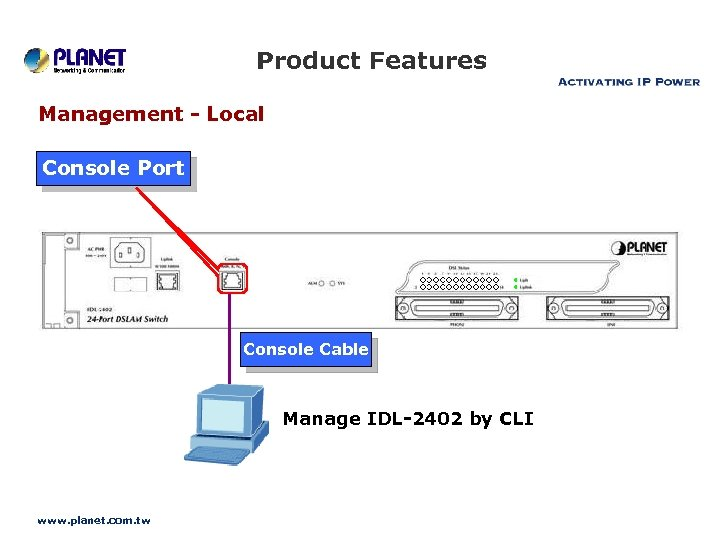 Product Features Management - Local Console Port Console Cable Manage IDL-2402 by CLI www.