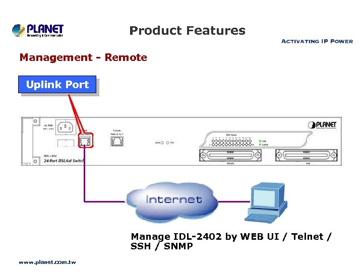 Product Features Management - Remote Uplink Port Manage IDL-2402 by WEB UI / Telnet