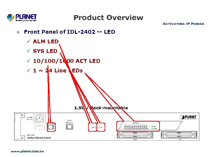 Product Overview u Front Panel of IDL-2402 -- LED ü ALM LED ü SYS