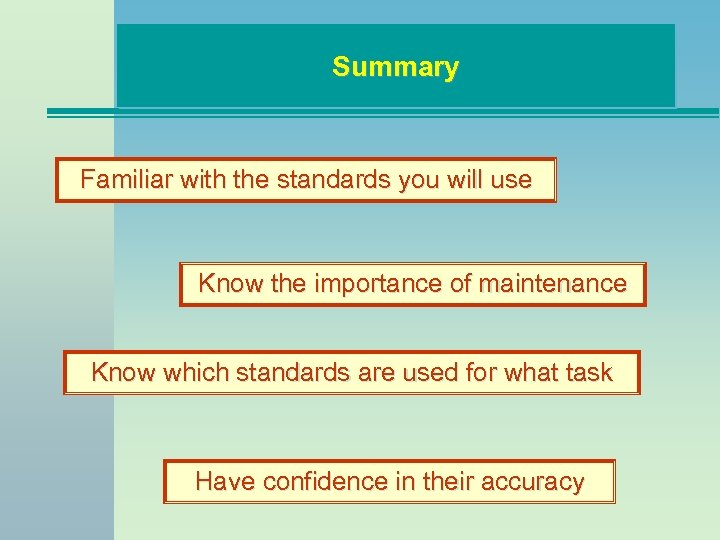Summary Familiar with the standards you will use Know the importance of maintenance Know