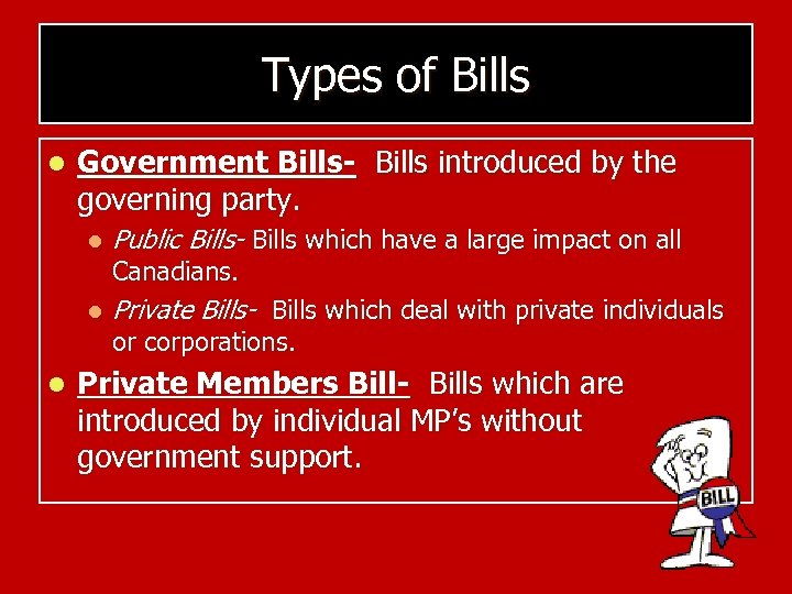 Types of Bills l Government Bills- Bills introduced by the governing party. l l