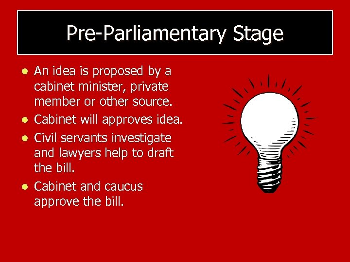 Pre-Parliamentary Stage l l An idea is proposed by a cabinet minister, private member