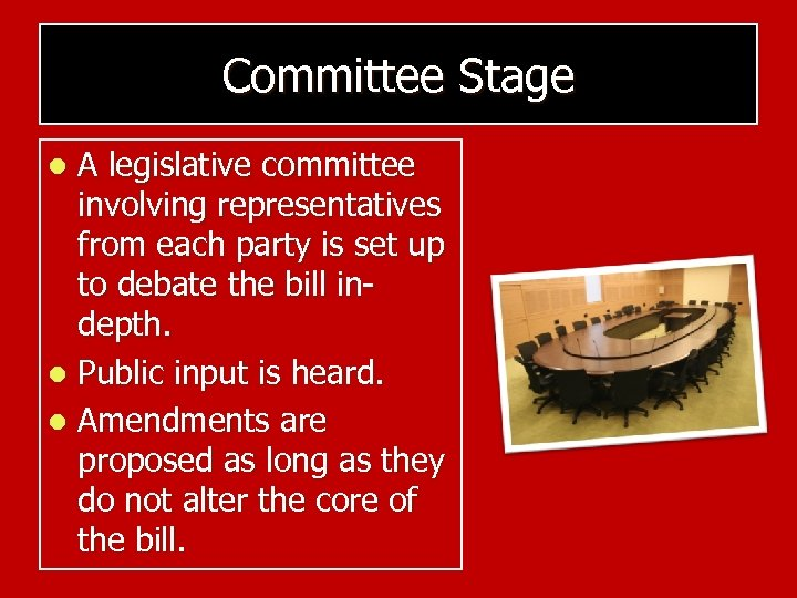 Committee Stage A legislative committee involving representatives from each party is set up to