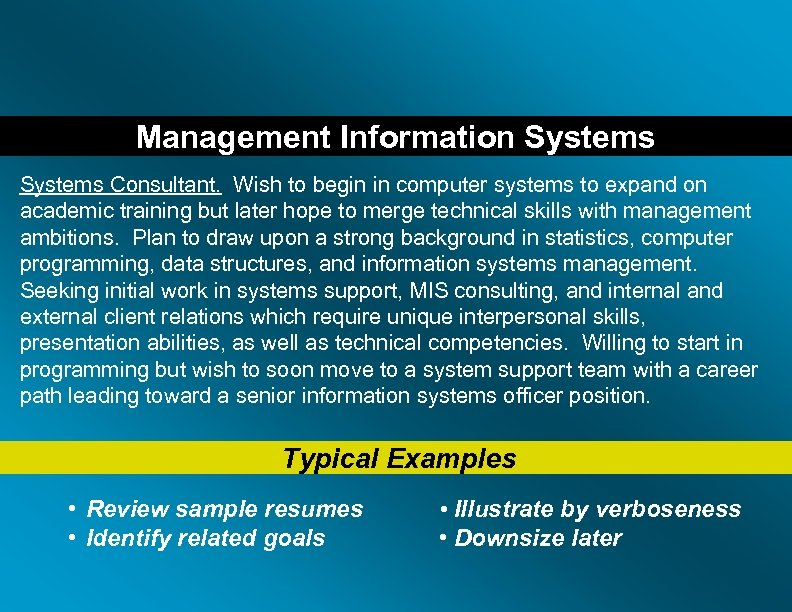 Management Information Systems Consultant. Wish to begin in computer systems to expand on academic
