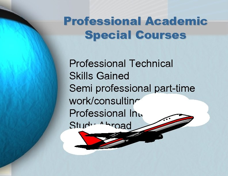 Professional Academic Special Courses Professional Technical Skills Gained Semi professional part-time work/consulting Professional Internships