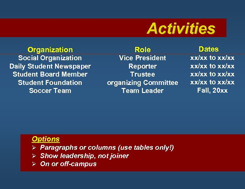Activities Organization Role Social Organization Daily Student Newspaper Student Board Member Student Foundation Soccer