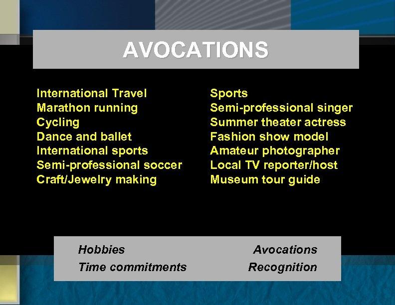 AVOCATIONS International Travel Marathon running Cycling Dance and ballet International sports Semi-professional soccer Craft/Jewelry