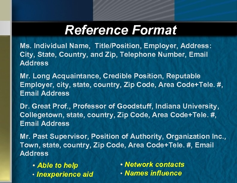 Reference Format Ms. Individual Name, Title/Position, Employer, Address: City, State, Country, and Zip, Telephone