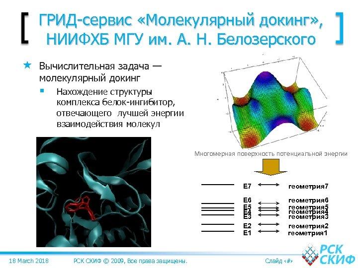 ГРИД-сервис «Молекулярный докинг» , НИИФХБ МГУ им. А. Н. Белозерского Вычислительная задача — молекулярный