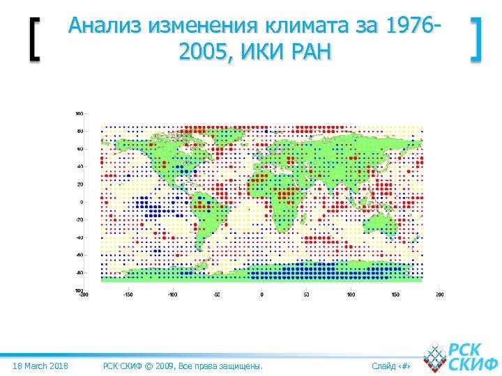 Анализ изменения климата за 19762005, ИКИ РАН 18 March 2018 РСК СКИФ © 2009,