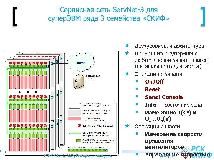 Сервисная сеть Serv. Net-3 для супер. ЭВМ ряда 3 семейства «СКИФ» Двухуровневая архитектура Применима