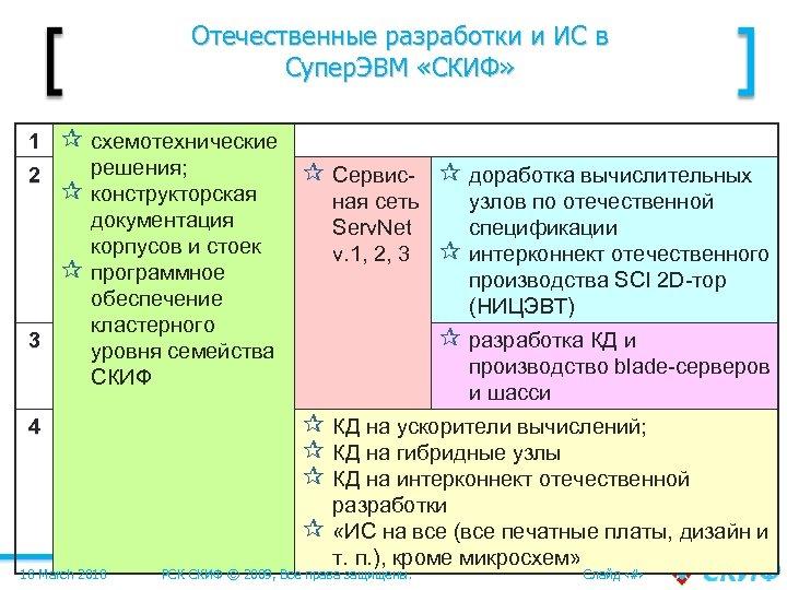 Отечественные разработки и ИС в Супер. ЭВМ «СКИФ» 1 ¶ схемотехнические 2 решения; конструкторская